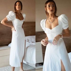 NWT Danielle Bernstein Polka Dot Midi Dress